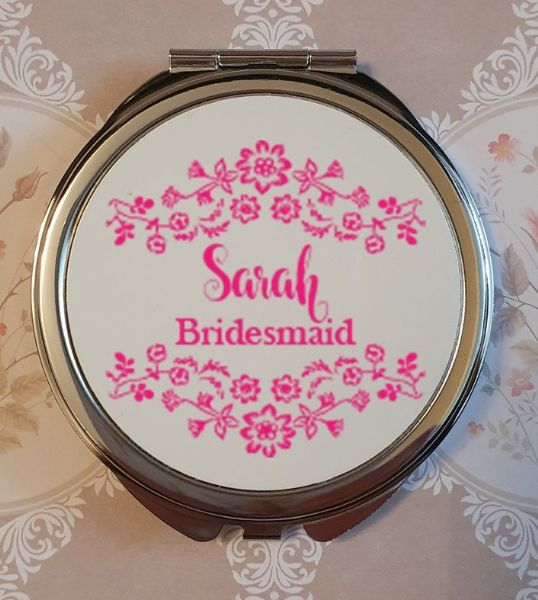 Personalised Wedding Compact Mirror - Design 1